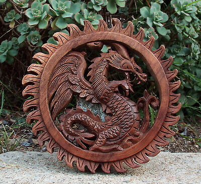 "Bali Dragon Sun Wood Wall Plaque Relief Carving 8"" x 8"""