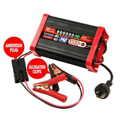 KICKASS 12V / 12AMP 8 Stage Automatic Smart Battery Charger For AGM, GEL, MARINE