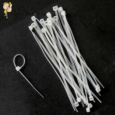 100PCS Nylon Cable Cable Tie-Wrap White Zip Ties Wrap Fasten Wire Self-Locking M