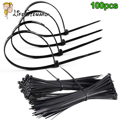 100PCS Nylon Cable Cable Tie-Wrap Black Zip Ties Wrap Fasten Wire Self-Locking L