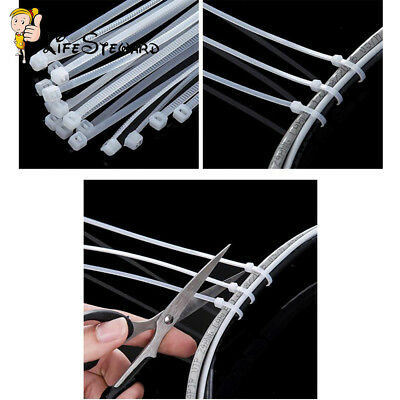 100PCS Nylon Cable Cable Tie-Wrap White Zip Ties Wrap Fasten Wire Self-Locking L