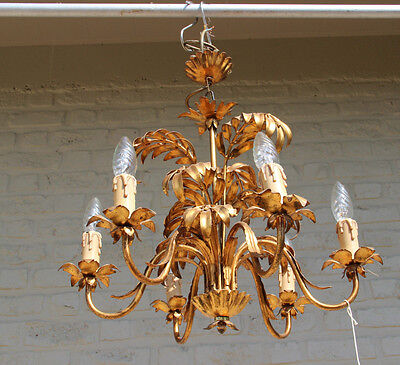 Mid-century 1960's Palm tree leaves 6 arm maison jansen design chandelier