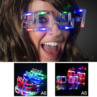 Funny Glasses With LED Light New Year 2017 Shape For Christmas Costume Party