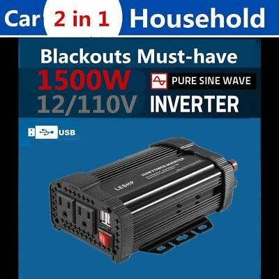 1500W DC 12V to AC 220V Car Power Inverter Charger Converter for Electronic O9