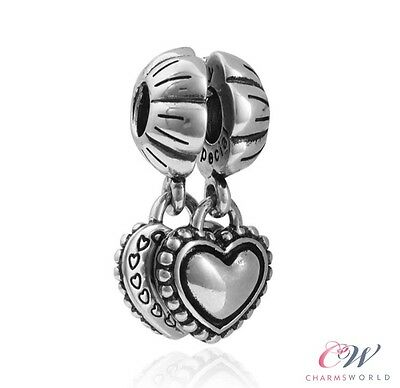 NEW Silver Plated Sister Double Heart Pendant Dangle Charm for Charm Bracelet