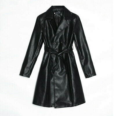 2019 New Ladies Womens Leather Trench Coat Belt Parka Knee Length Long Jacket