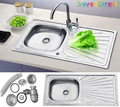 New Single 1.0 Bowl Fully Reversible Stainless Steel Kitchen Sink & waste Z1240