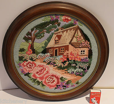 Cottage Roses Tapestry Garden Needlework faux Wood Frame Round HandMade Vintage