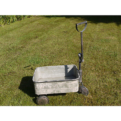 TROLLEY Cart METAL Trough Garden Planter Antique Vintage Rustic Galvanised *NEW*