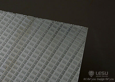 LESU 1:14 or 1:10 scale metal chequer plate, 4 bar pattern. ZK-K002. Tamiya