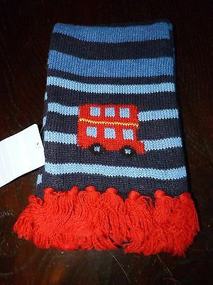 Jojo Maman Bebe Boys knitted Blue & Red London Bus Scarf