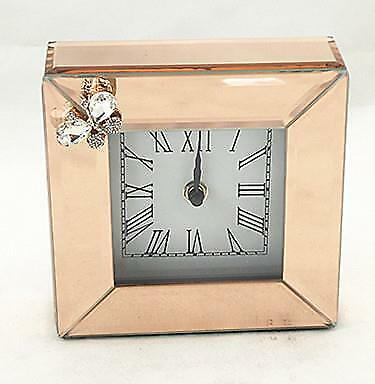 New Contemporary Rose Gold Square Mantel Clock Mirrored Glass Analogue WT15244