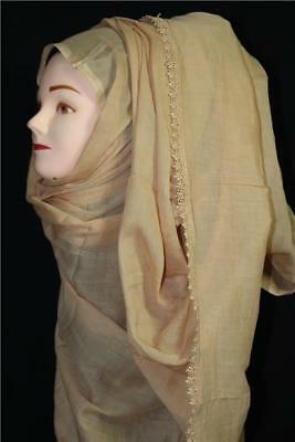 New Ladies / Girls Plain Contemporary Beige Scarf Shawl Hijab Lace Cotton Large
