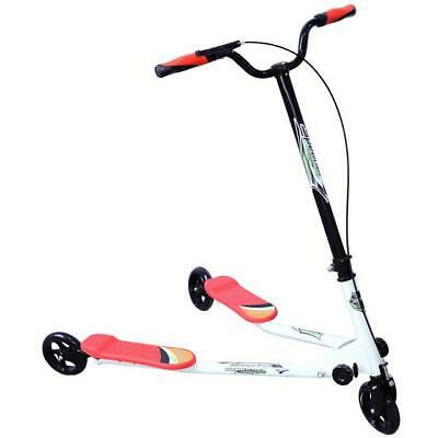 Kids 3 Wheel Tri Speeder Winged Kick Scooter Push Motion Large Drifter Red SP-02