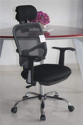 Adjustable Chrome Executive Office Computer Desk Chair Mesh Seat Fabric 9010 BLK