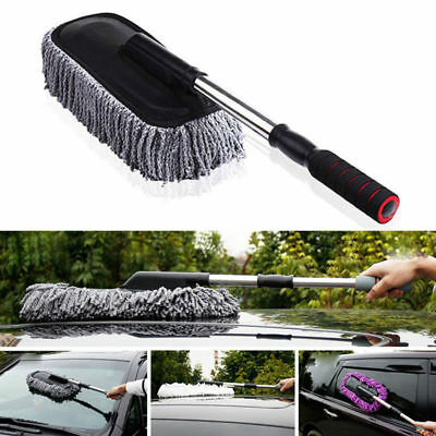 Cleaning Car Long Handle Retractable Car Wash Brush Dust Duster Wax Mop Gray