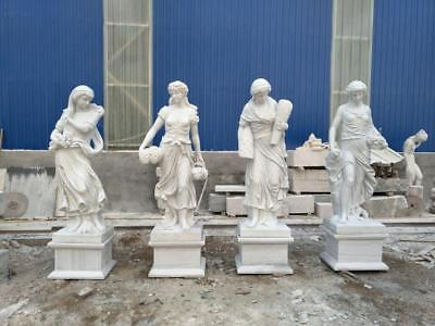 Beautiful Hand Carved Solid Marble European Design Estate Statues - Jdt7