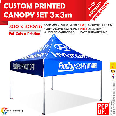 3x3 m Custom Printed Canopy Advertising Tent 40mm Frame Wheeled Carry Bag