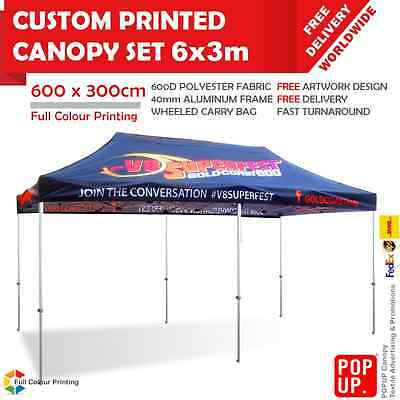 6x3 m Custom Printed Canopy Advertising Tent 40mm Frame Wheeled Carry Bag
