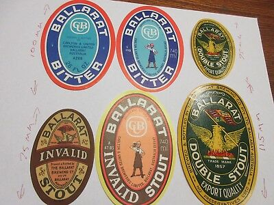 6 Ballarat Bitter Beer Bottle Labels Vintage Bertie Invalid Stout Carlton United