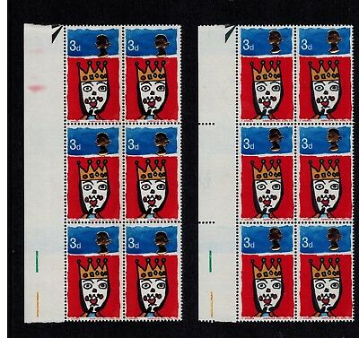 1966 X-MAS 3d MNH MISTAKE ERROR MAJOR SHIFT QUEEN'S HEAD BLOCK 6 STAMPS SG 713