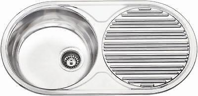 New 1.0 Stainless Steel 900 x 470mm Bowl Round Compact Kitchen Sink + Waste Kit