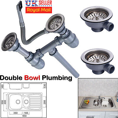 Brand New Replacement 1.5 2 Bowl Kitchen Sink Waste Kit Complete With Over Flow