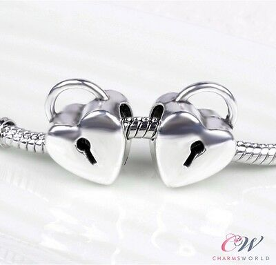 NEW Silver Plated Heart Lock Charm for Bracelet- BUY ONE GET ONE FREE!