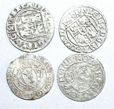 Lot Of 4 Medieval Silver Hammered Coins - Ancient Artifact Fantastic - M775
