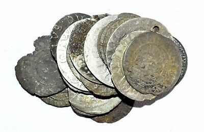 Lot Of 20 Medieval Silver Hammered Coins - Ancient Artifact Fantastic - M776