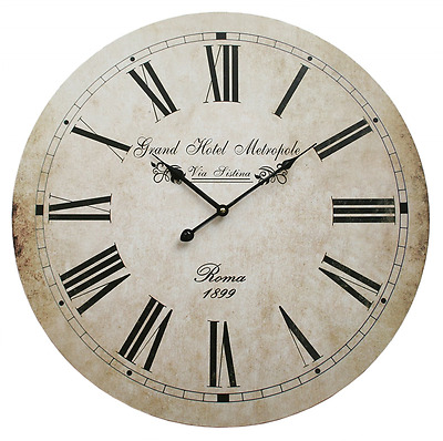 Large wall clock shabby chic vintage french style antique cream 58cm