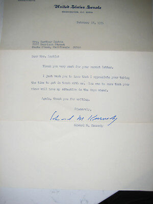 Edward M. Kennedy autographed letter