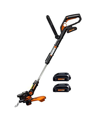 WORX  20 V 2 Ah Lithium Ion Cordless Grass Trimmer with 2 Battery Packs  Black