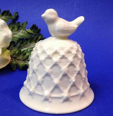 Ivory White Porcelain Bell - 8cm Tall,  Bird Finial, Relief Pattern