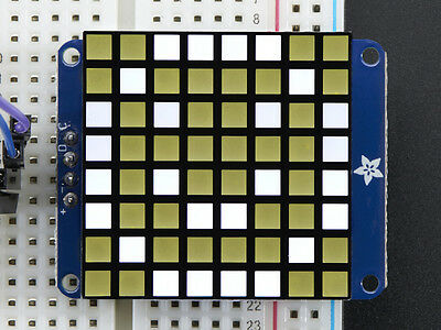 "Small 1.2"" 8x8 Ultra Bright Square White LED Matrix + Backpack"