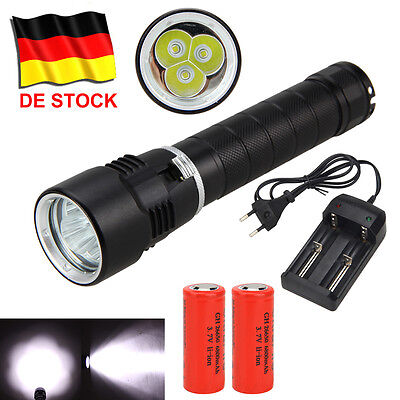 Diving 10000LM 3x XML T6 LED Taschenlampe Flashlight Torch Bis 100m 26650 Akkrus