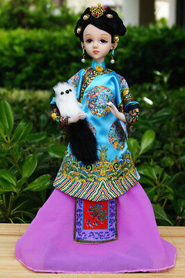 Handmade Asian Chinese Ancient Doll Lady Figurine Holding the dog in her hand