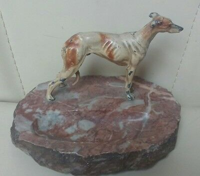 Antique Austrian Cold Painted Bronze Spelter Greyhound Dog Figure Marble Ashtray