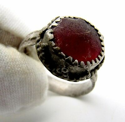 Medieval Silver Ring W/ Red Stone  - Extremely Rare Wearable Artifact - M614