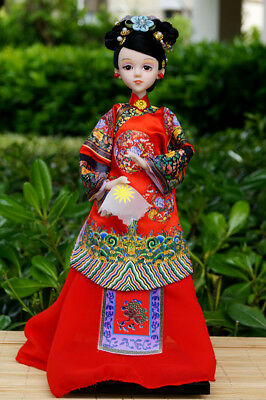 Handmade Asian Chinese Ancient Doll Lady Figurine Red Silk Brocade Furnishings