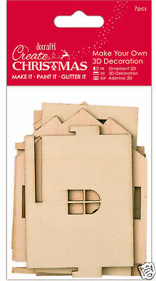 Docrafts wood craft decoration Bare basics wooden Create Christmas HOUSE