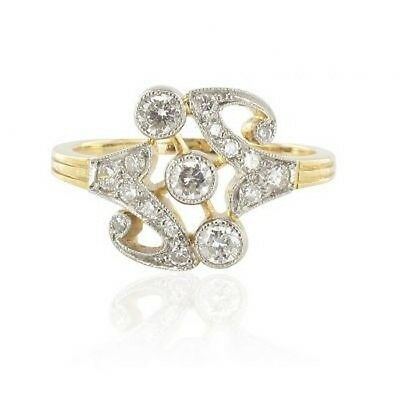 Yellow gold Ring platinum pattern diamonds Ring