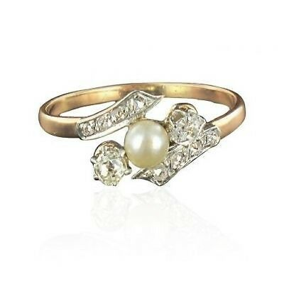 Ring old pearl delicate diamonds Gold pink 18K Classic Ring
