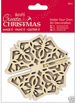 Docrafts wood craft decoration Bare basics wooden Create Christmas 3D SNOWFLAKE