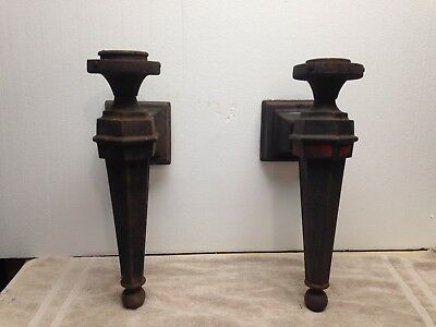 Pair Antique Cast Iron Architectural Outdoor Wall Light Sconce Goth Salvage 18""