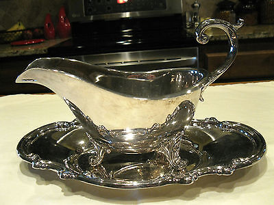 Vintage Reed & Barton Footed Gravy Boat with Underplate Georgian Pattern 1063