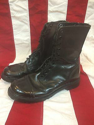 Vintage genuine Leather Korean Army Military Boots mens 10 1/2 Made In Korea