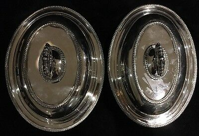 """2 Silverplate Covered Serving Dishes, Removable Handle """"Primrose Plate"""" BIRKS"""