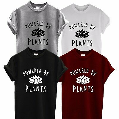 POWERED BY PLANTS T SHIRT Vegetarian Vegan Hipster Joke Tee TOP Unisex tumblr xx