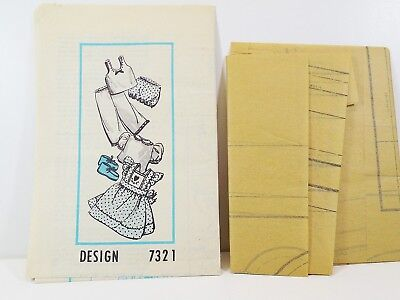 Vintage Doll 6 Piece Wardrobe Pattern Design 7321 Includes Clothing Pattern